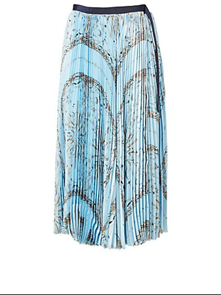 Holt Renfrew女装品牌2020秋季萨凯Woo博士印花大手帕褶皱中长半身裙