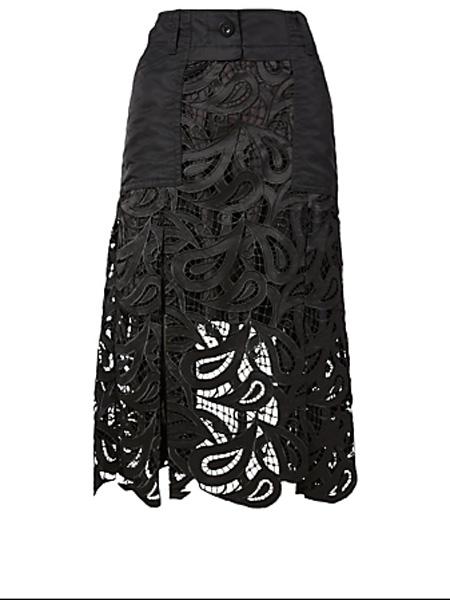 Holt Renfrew女装品牌2020秋季萨凯佩斯利蕾丝中长半身裙