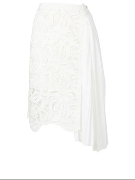 Holt Renfrew女装品牌2020秋季萨凯佩斯利蕾丝不对称半身裙
