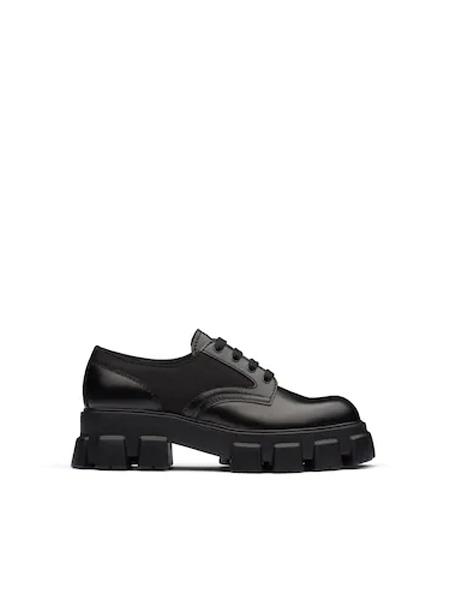 普拉达Prada鞋帽/领带品牌2020秋季Prada Monolith 亮面皮革和尼龙鞋