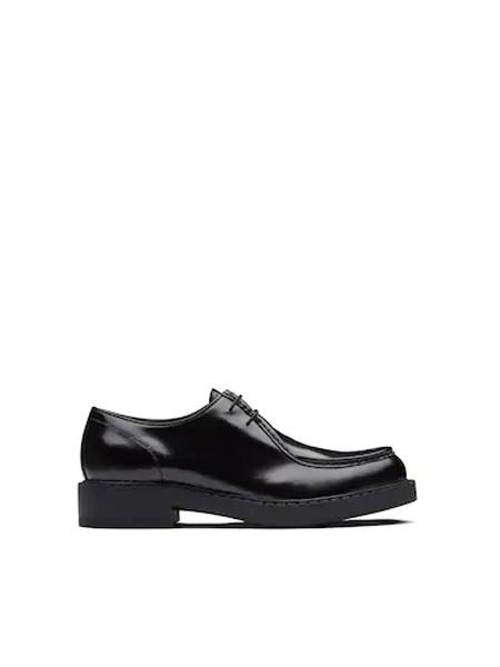 普拉达Prada鞋帽/领带品牌2020秋季亮面皮革系带鞋