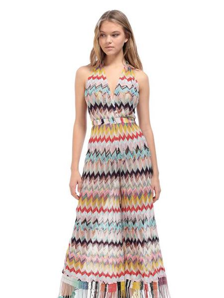 Eni:d女装品牌2020春夏彩色条纹半透明沙滩裙