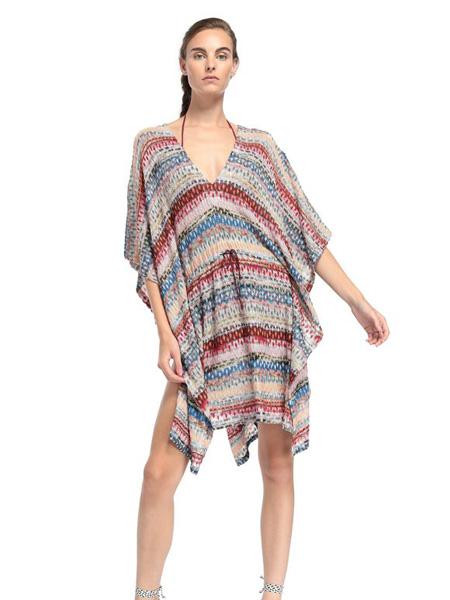 Eni:d女装品牌2020春夏彩色条纹沙滩裙