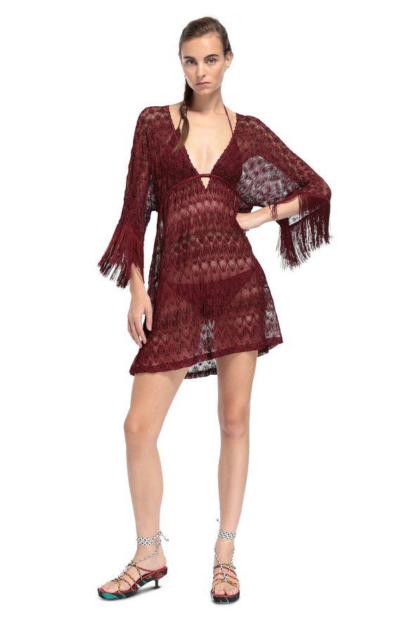 Eni:d女装品牌2020春夏红色半透明沙滩裙