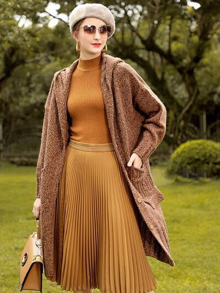 Vzxq女装品牌2020秋冬棕色时尚风衣