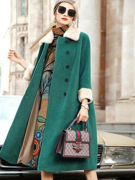 Vzxq女装品牌2020秋冬绿色休闲风衣