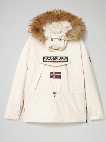 Napapijri女装品牌2020秋冬白色带帽羽绒服
