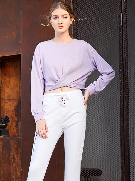 金蝶茜妮女装品牌2020秋季紫色时尚上衣