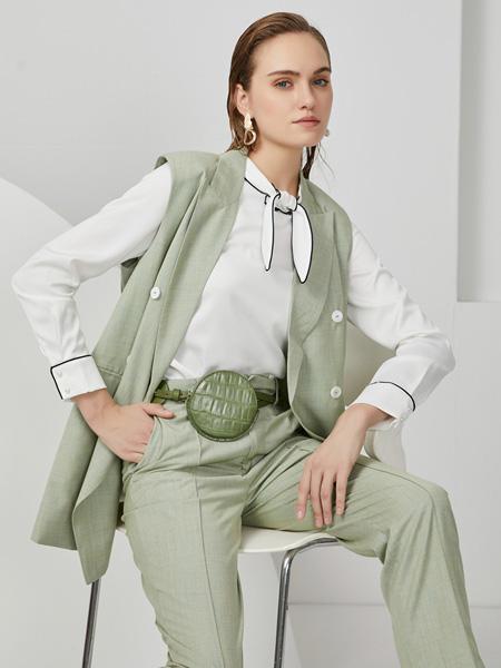 布伦圣丝女装品牌2020秋冬绿色森系套装