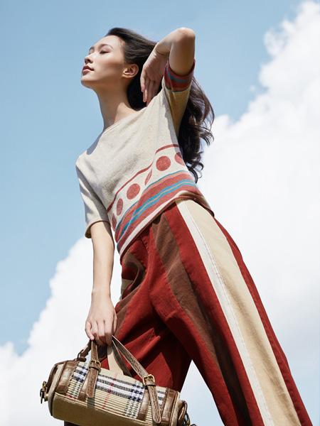 谷度女装品牌2020秋冬白色印花上衣