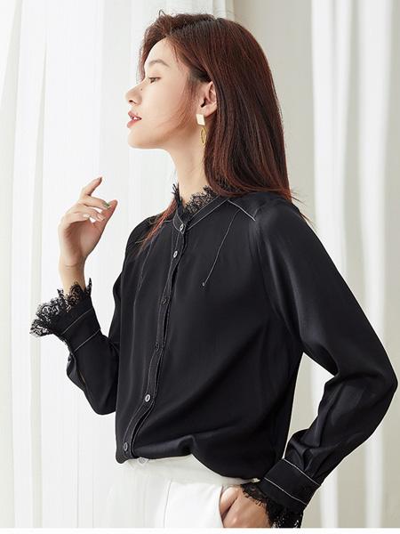 阿莱贝琳女装品牌2020秋冬黑色时尚上衣