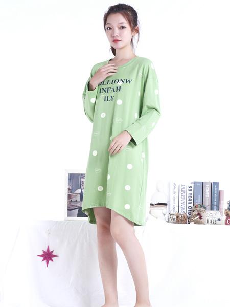 百分百女人内衣品牌2020秋冬绿色斑点睡衣