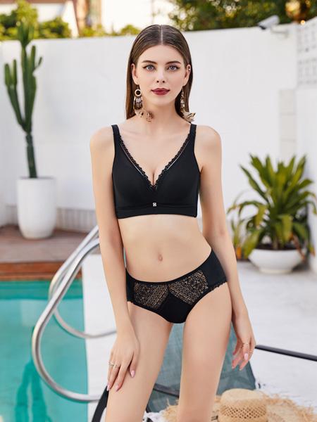 芭妃莎内衣品牌2020秋季黑色性感内衣