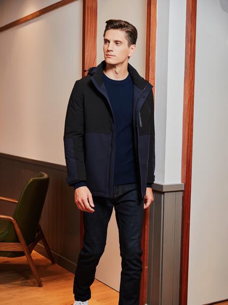 爱迪丹顿男装品牌2020秋冬黑色时便�W身朝那��房掠去尚带帽外套