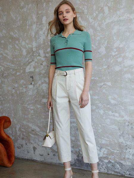 香影女装品牌2020秋季绿色条纹上衣