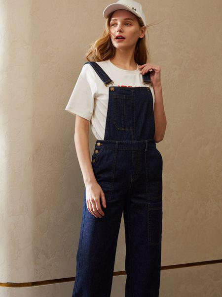 香影女装品牌2020秋季蓝色牛仔吊打裤