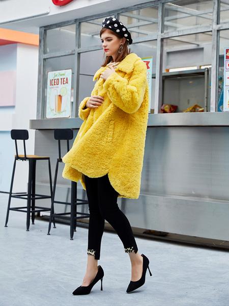 音菲梵女装品牌2020秋冬黄色时尚外套
