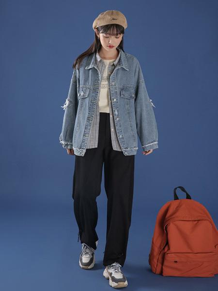冰依婷女装品牌2020秋冬蓝色牛仔外套