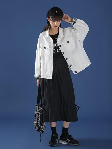 冰依婷女装品牌2020秋冬白色时尚外套