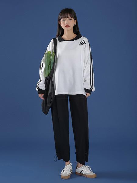 冰依婷女装品牌2020秋冬白色条纹上衣