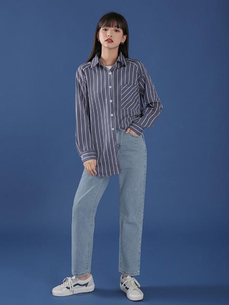 冰依婷女装品牌2020秋冬黑色条纹衬衫