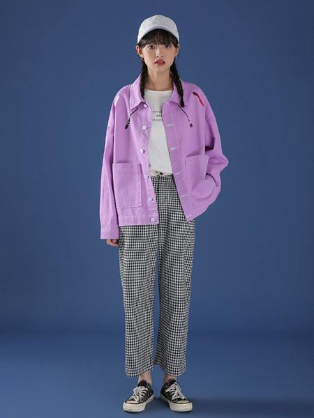 冰依婷女装品牌2020秋冬紫色时尚外套