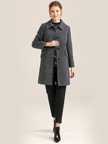 紫玫瑰女装品牌2020秋季黑色外套