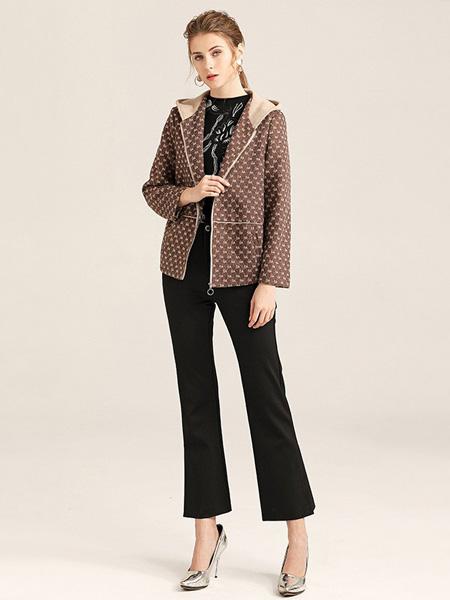 紫玫瑰女装品牌2020秋季棕色斑点带帽外套