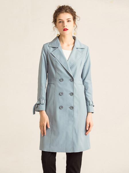 紫玫瑰女装品牌2020秋季淡蓝色时尚外套