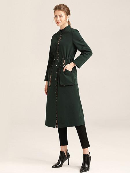 紫玫瑰女装品牌2020秋季绿色长款外套