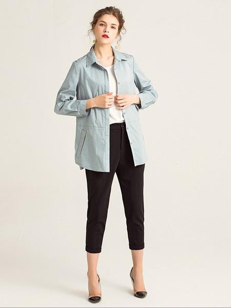 紫玫瑰女装品牌2020秋季淡蓝色休闲外套