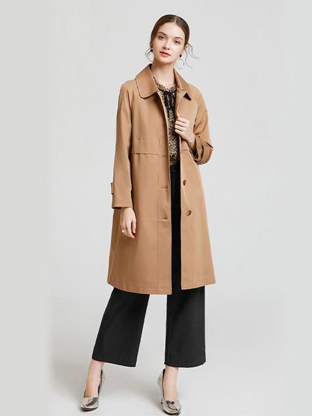 紫玫瑰女装品牌2020秋季棕色长款外套