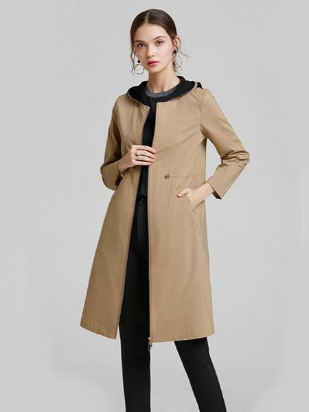 紫玫瑰女装品牌2020秋季淡黄色长款外套