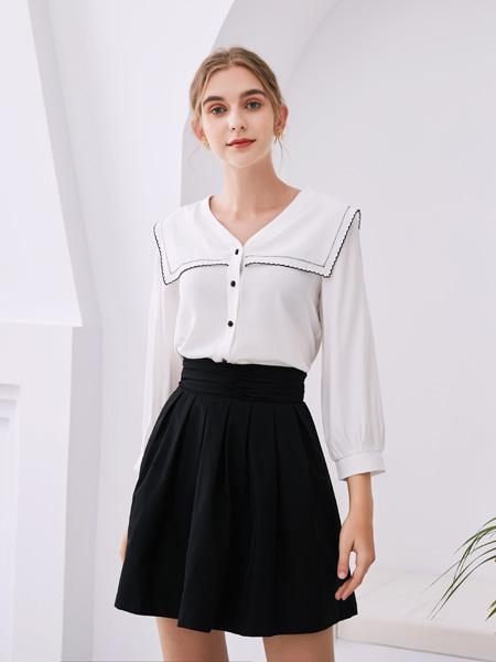 KzrKze女装品牌2020秋季白色时尚上衣