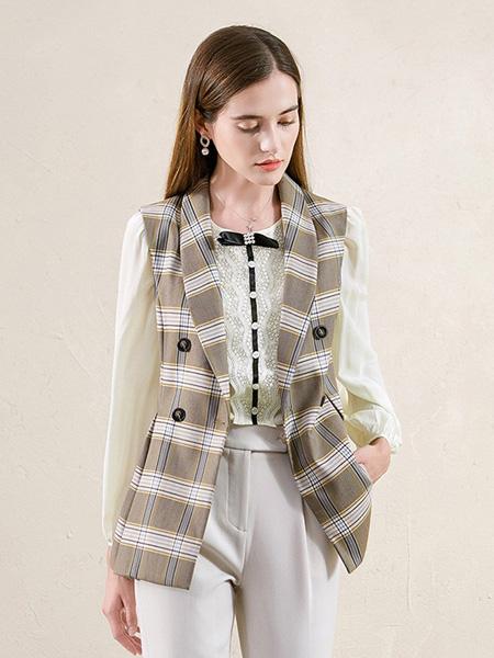 珂瑞思女装品牌2020秋季棕色格子外套
