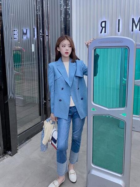 PENCIL UNISEX女装品牌2020秋季蓝色时尚外套