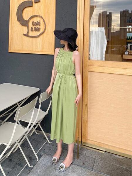 PENCIL UNISEX女装品牌2020秋季绿色无袖连衣裙