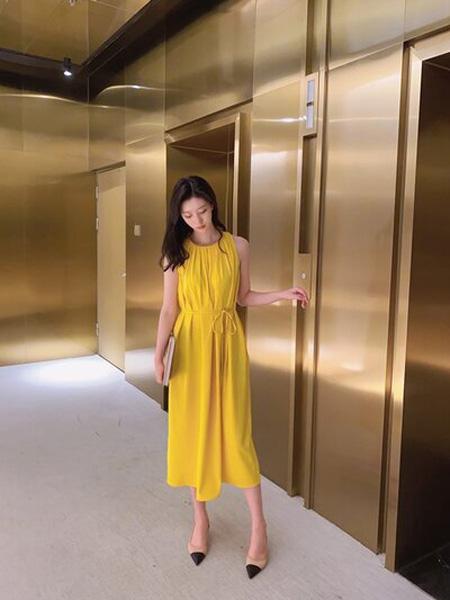 PENCIL UNISEX女装品牌2020秋季黄色无袖连衣裙