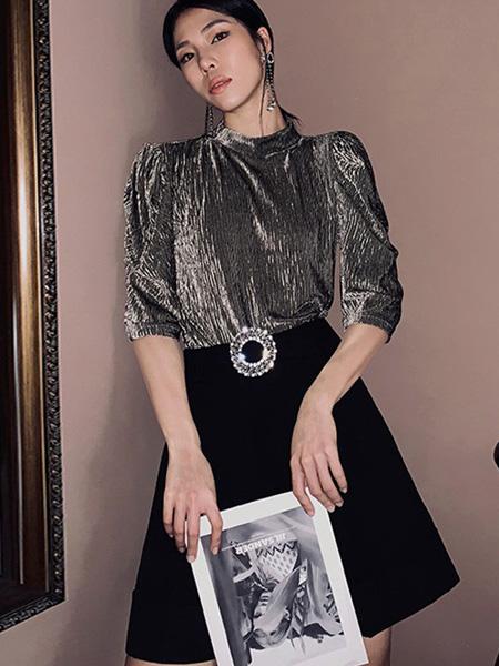 奥芙俪女装品牌2020秋季灰色时尚上衣