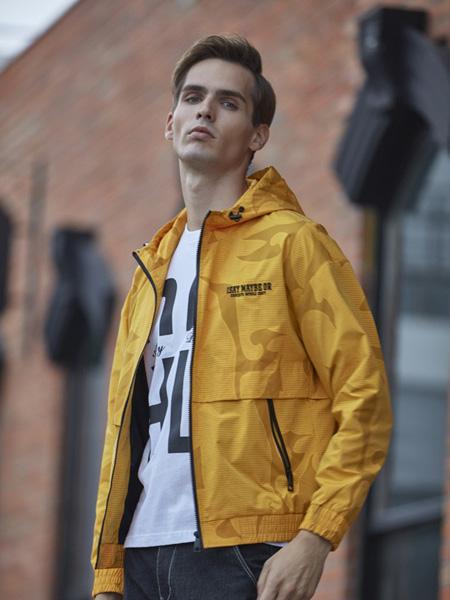 爱迪丹顿男装品牌2020秋季黄色带帽外套