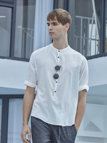 爱迪丹顿男装品牌2020秋季白色休闲上衣