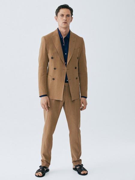 Massimo Dutti男装品牌2020秋季淡黄色西装套�@刑天装
