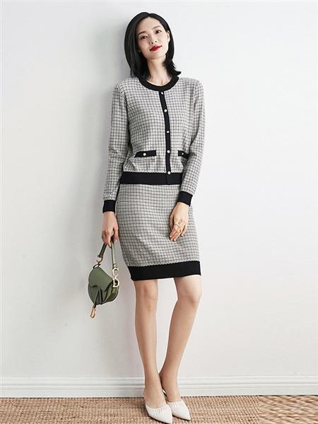 优衣美女装品牌2020秋冬灰色格子套装