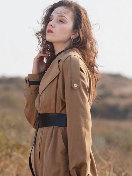 薇薇希女装品牌2020秋冬棕色长款风衣