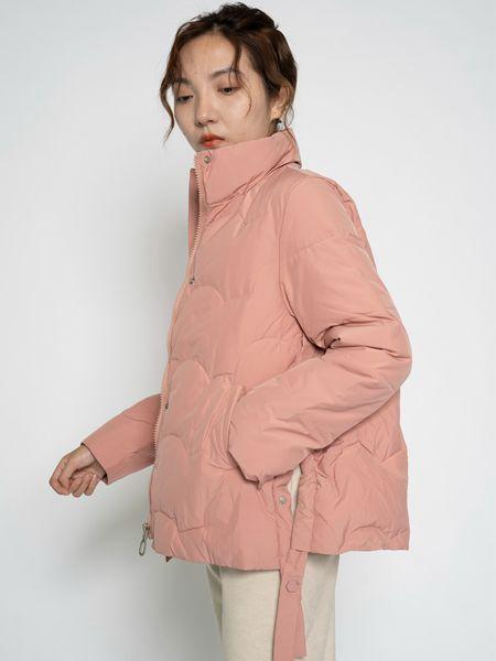 薇薇希女装品牌2020秋冬粉色中长款羽绒服