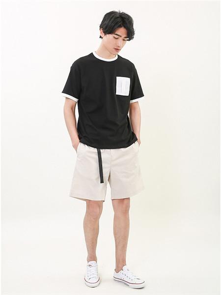 L.LANNE拉朗尼男装品牌2020春夏休黑色T恤