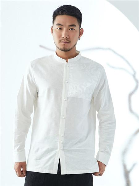 半墨男装品牌2020秋冬街头白色衬衫