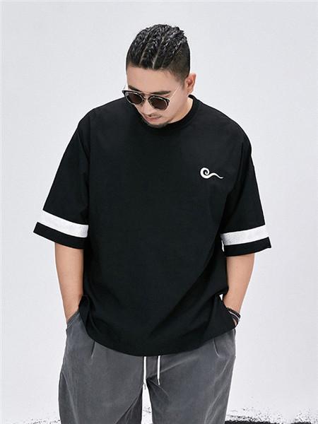 半墨男装品牌2020春夏个性黑色T恤