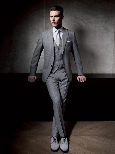 裁圣男装品牌2020秋季灰色西装套装