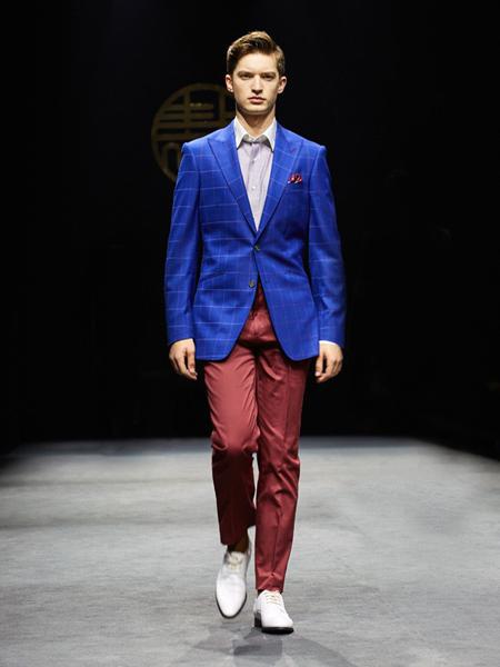 裁圣男装品牌2020秋季蓝色格子西装外套